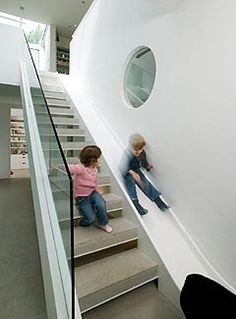 hahaha this really is brilliant! why don't more houses have slides next to their stairs. And public places should too! Imagine slides in the library...?!