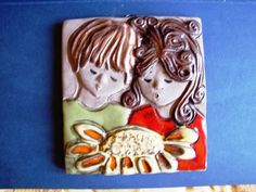 Vintage Sweden wall plaque Elbogen Hand made Boy & Girl Brown green red rare