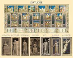 Representación de las alegorías de las siete virtudes en la capilla Scrovegni de Padua. Giotto