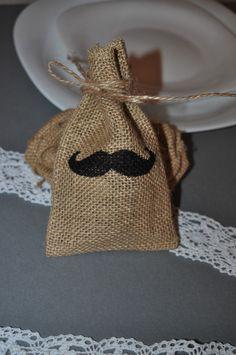 Moustache Favour Cutlery Holders Bunting Banner Envelope Burlap Hessian Wedding