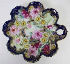"""Antique Hand Painted Floral Decorated Bowl Gold Bead Moriage Scalloped 9"""""""