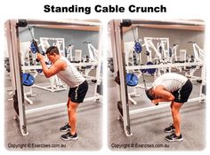 Standing Cable Crunch is an effective exercise that primarily works the upper abdominals and the serratus muscles but also engages the lower abdominals and the lower back at the bottom position.  Standing Cable Crunch is a great exercise to build thicker and stronger abs by using heavier weight for overload.  Watch a demo... https://www.exercises.com.au/standing-cable-crunch/