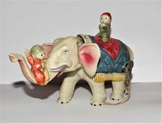 VINTAGE CELLULOID WIND UP Circus Elephant PRE-WAR WORKING & COMPLETE TOY #Unbranded