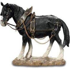 figurine statuette cheval de trait noir 19 cm