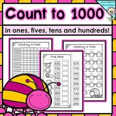 Numbers to 1000 in skip counting in ones, fives, tens, and hundreds worksheets! Teaching Second Grade, Second Grade Math, Grade 3, Kindergarten Math, School Classroom, Math Folders, Math Place Value, Learn To Count, Skip Counting