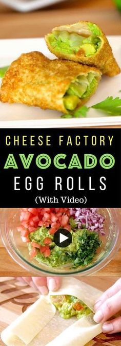 Copycat Avocado Egg Rolls - Healthy, tasteful and so easy to make! All you need is only a few simple ingredients: egg rolls, avocado, cilantro, tomato, red onion, limes and oil! So Good! Quick and easy recipe! Party food. Appetizers. Video recipe. | Tipbuzz.com