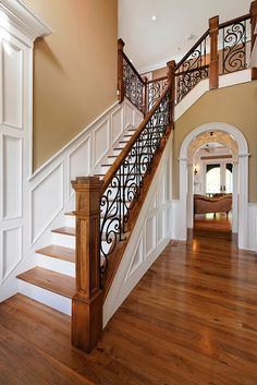 Traditional Staircases 2 Story House | Traditional two story entry foyer with staircase and custom oak and ...