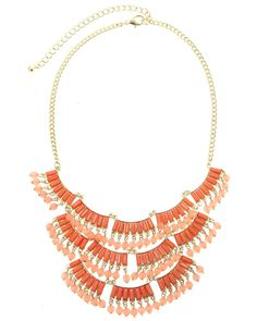 FS0555  DELICATE RACTANGULAR STONE STATEMENT NACKLACE SET - FS0555-GOLD CORAL