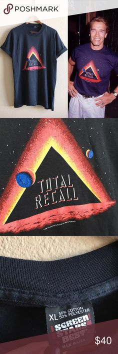 Vintage Total Recall Tee Total Recall movie promo tee, as seen on the Arnold 👌🏼  BRAND: Screen Stars MATERIAL: 50/50 YEAR/ERA: 1990 LABEL SIZE: XL BEST FIT:   MEASUREMENTS: Chest inches Length inches  🚫 I do not model or trade, sorry! 💟 Check out my closet for more vintage tees!     0004 Vintage Tops Tees - Short Sleeve