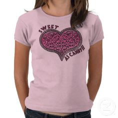 Sweet As Candy  T-Shirt  What girl wouldn't fall in love with IconDoIt's original design of a licorice and pink lace heart that looks as Sweet As Candy? We show it on a pink baby-doll style T-Shirt sized for pre-teens but you can choose a different shirt style and in sizes from infants to adults. Happy Sweetest Day! (or Valentine's Day, or whenever). Sold exclusively @ www.zazzle.com/icondoit?rf=238155573613991097&tc=pnt