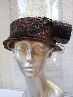 VTG 1920's Flapper Fascinator TILT TOPPER Straw HAT 23 Charleston ART DECO #Pillbox