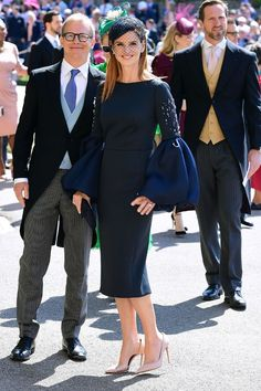 Meghan and Harry's Royal Wedding guests outfits: Sarah Rafferty in a navy dress