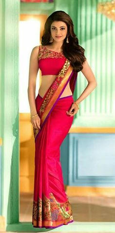 Sexy Indian Actress in Saree: Kajal Agarwal Indian Bollywood Actress, Bollywood Girls, Bollywood Fashion, Beautiful Girl Indian, Most Beautiful Indian Actress, Beautiful Saree, Indian Dresses, Indian Outfits, Fashion Week