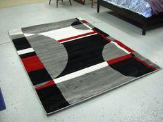 modern red white black design 5x8 area rug carpet new - 5x8 Rugs