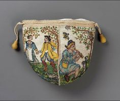 Drawstring bag French ca. 1700-1750  Glass beads (sablé)  on linen ; silk netting and braided cords