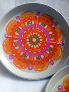 70s vintage Ethel von horn Ira tin Coasters in a nice box. Denmark. Scandinavian design, Great condition