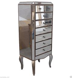 Lingerie Chest Tall Antique Mirror on Hardwoods 4.5' tall 8 Drawers New Handmade #NeoClassical #love