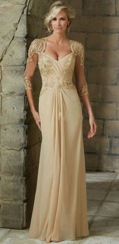 Mother of the Bride: A Line Chiffon Dress with Illusion Sleeves & Lace Applique