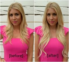 flip in hair extensions - before and after