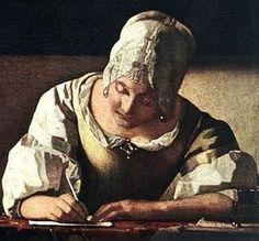 Writing lady, by Johannes Vermeer Johannes Vermeer, Vermeer Paintings, Delft, Tableaux Vivants, Baroque Painting, Dutch Golden Age, Classic Paintings, Dutch Painters, Renaissance