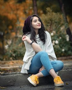 Image may contain: 1 person, sitting, shoes and outdoor Stylish Photo Pose, Stylish Girls Photos, Stylish Girl Pic, Stylish Dp, Stylish Baby, Portrait Photography Poses, Photography Poses Women, Photography Jobs, Photography Backdrops
