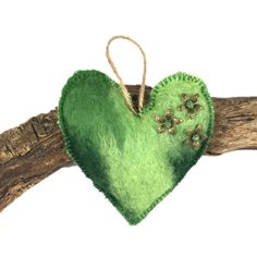 Lavender scented hand felted padded heart in green shades (1) £4.50