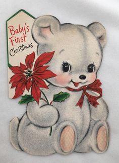Cute White Flocked Teddy Bear Poinsettia Vintage Hallmark Die Cut Christmas Card | eBay