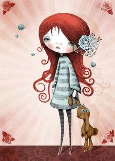 Cute Girl with Bunny Children Art Print: I love my bunny and my bunny loves me. $20.00, via Etsy.