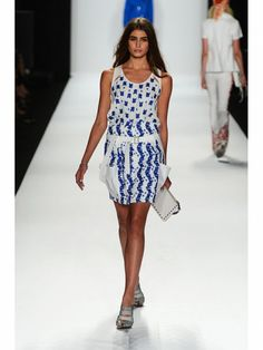 Rebecca Minkoff blue and white print dress  shown during Mercedes Benz Fashion Week Spring/Summer 2013 in New York City. #NYFW #models