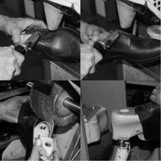 A hot iron is applied to the shoe by hand, which sets the edges, creating a greater depth of color for the following polishing step. Then the abrasive brush step. The shoe is removed from the last. #franceschetti handmade shoes Made in Italy