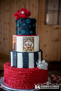 Vintage circus wedding cake, night circus wedding cake, Barn Wedding cake, Rustic Wedding cake,Photo by BG Productions.