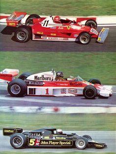 La Formule 1 en 1977 - de haut en bas Ferrari 312 T2 / MacLaren-Ford M 26 / J.P.S. Lotus-Ford 78 / Wolf-Ford WR1 / Brabham-Alfa Romeo BT 45 B / Tyrrell-Ford - sport-auto décembre 1977.