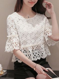 #Valentines #AdoreWe #BerryLook - #berrylook Spring Summer Lace Women Round Neck Hollow Out Plain Half Sleeve Blouses - AdoreWe.com Casual Tops For Women, Blouses For Women, Blouse Styles, Blouse Designs, Skirt Outfits, Chic Outfits, Batik Dress, Lace Jacket, Dress Sewing Patterns