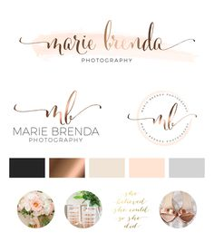 Watercolor Logo Design Custom Logo Design Rose gold by PeachCreme