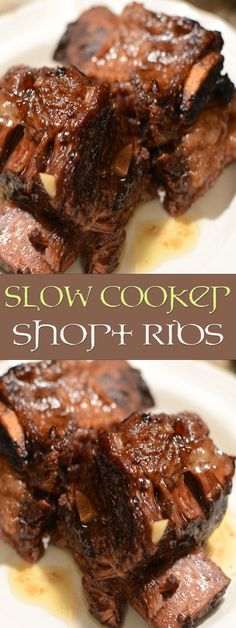 Hearty slow cooker short ribs korean from the food and nutrition experts Ribs Recipe Oven, Slow Cooker Ribs Recipe, Short Ribs Slow Cooker, Crock Pot Slow Cooker, Crock Pot Cooking, Slow Cooker Recipes, Cooking Recipes, Beef Recipes, Beef Short Ribs