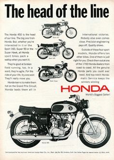 1966 Honda Super 90 Sport 160 Super Hawk 450 Advertisement Road & Track October 1966 | Flickr - Photo Sharing!