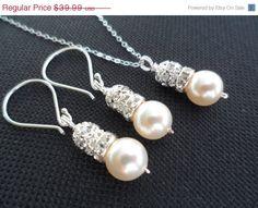 10 SALE Ivory Pearl Drop and Rhinestone by weddingbellsdesigns, $35.99