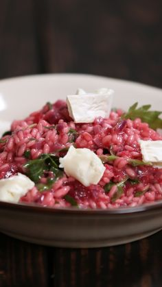 How to make a beetroot risotto with goat's cheese and rocket.