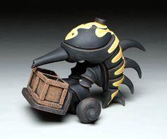 ceramic teapot by Gerard J. Ferrari entitled Dung Beetle with Death Head Moth Graffiti