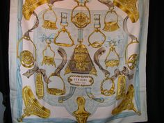 Hermes Etriers Silk Scarf in light blue and golds