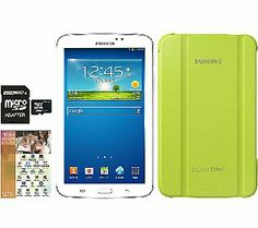 Samsung 8GB 7.0 Tab 3, Green Cover, 16GB Card& App Software