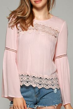 $13.84 Sweet Bell Sleeve Hollow Out Blouse