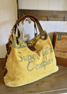 Standard Super Nutro Complex Vintage Feed Sack by selinavaughan Distressed Leather, Canvas Leather, Vintage Leather, Feed Bags, Inside Bag, How To Make Handbags, Handmade Bags, Handmade Leather, Purses And Bags
