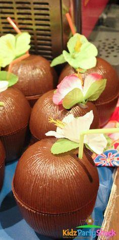 Coconut cups at a Hawaiian Luau Birthday Party! See more party ideas at… Aloha Party, Party Fiesta, Hawaiian Luau Party, Hawaiian Birthday, 18th Birthday Party, Tiki Party, Birthday Party Themes, Birthday Ideas, Hawaiian Theme