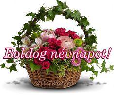 névnap, virágok, virágcsokor, képek, képeslapok Name Day, Wicker Baskets, Floral Wreath, Birthday, Facebook, Art, Birthdays, Saint Name Day, Kunst