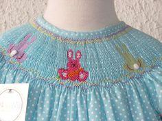 Easter smocked bishop dress Bunnies smocked dress by handsmocked, $47.00