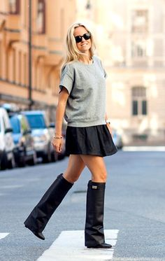 Quilted Grey Sweater, Leather, Givenchy Boots