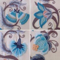 Dekoratif Nakış...Yün ipliklerle çalışılan bu teknik ,crewel olarak tanınıyor...#crewel #nakış#embroidery #handmade#elişi#dekoratifnakış#madeira#lana#grupteks#mavi#blue#