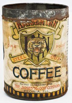 Kaiser Inn Steel Cut Coffee Vintage Tins, Vintage Coffee, Antique Coffee Grinder, Coffee World, Coffee Tin, Tin Cans, Coffee Packaging, Chocolate Pots, Cream And Sugar