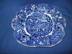 Beautiful old English Staffordshire serving platter in Wedgwood blue!! 10.375 in diameter. Has handles. Fab